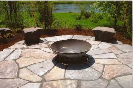 Exterior Design Patio Design Ideas Plus Firepit Flagstone Pavers