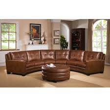 meadows brown curved top grain leather sectional sofa and ottoman curved leather sofa e69