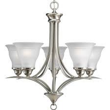 progress lighting p4328 09 5 light trinity chandelier brushed nickel