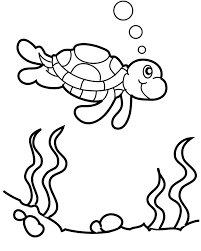 Small Picture The Turtle Swims In Water Coloring Page Colouring In Pages