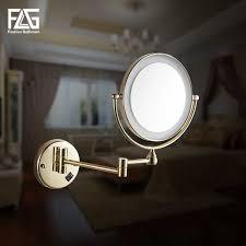 "<b>Golden Brass LED</b> Light Makeup Mirrors 8"" Round Dual Sides 3X ..."