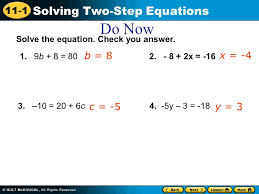 11 1 solving two step equations do now 1 9b 8