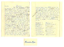 lot detail bruce lee signed handwritten essay from high school bruce lee signed handwritten essay from high school the pure white hangings in the little bed chambers above beckons come in