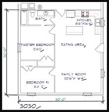 2 bed 1 bath 30 x30 900 sq ft barndominium