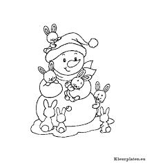 Sneeuwpop Kleurplaten Kleurplateneu