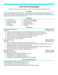 new massage therapist resume examples resume examples  therapist resume examples to stand out massage