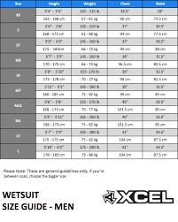 Xcel Wetsuit Size Chart Thewaveshack Com