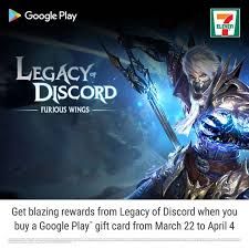 calling all legacy of discord furious wings players snag a google play gift card at 7 eleven for awesome rewards now till 4 april