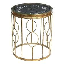 gold round glass side table metal uk kmart with clock top furniture interiors kitchen