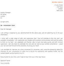 Cover Letter Example For An Immediate Start Job Lettercv Com
