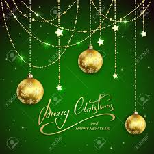 Golden Christmas Balls And Decorative Stars On Green Holiday