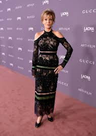 Jane Fonda LACMA shoulderless dress