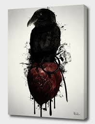 Raven And Heart Grenade Canvas Print By Nicklas Gustafsson