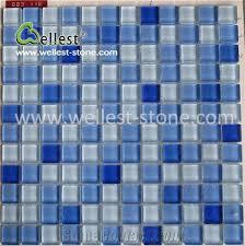 popular crystal blue glass mosaic tile for swimming pool bathroom
