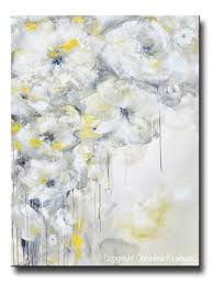 large of noble abstract yellow grey fl painting original g taupe flowers wall art canvas print