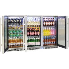 rhino 3 door alfresco outdoor glass door bar fridge model gsp3h ss angle