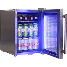 refrigerator with led lights and stainless steel mini bar fridge strip light lock glass door 2