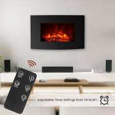 details about ikayaa 35 electric wall mount fireplace 3d flame heater with remote control us