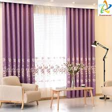 dreamwood high quality linen luxury curtains european purple embroidered blackout living room window curtains with voile