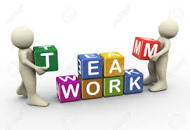 working as a team 3d render men placing team work text cubes 3d illustration of