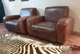 2 x genuine leather arm chairs full grain single seater cigar lounge sofas r