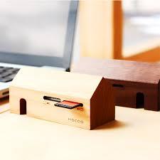 hacoa s wooden card reader is funky desk décor