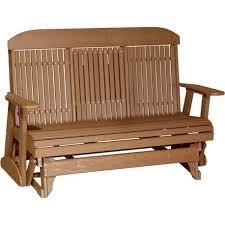 outdoor 5 foot highback porch glider bench in premium woodgrain poly lumber