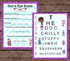 Printable Eye Chart Doc Mcstuffins Eye Chart Patient Exam Pretend Dramatic Play Printable