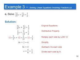 example 3 solving linear equations involving fractions c