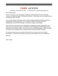 Cover Letter Sample For Valet Job Media Entertainment Birthday Party