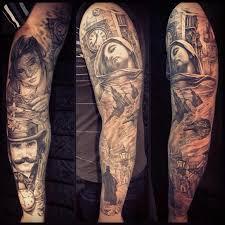 татуировки черно серый рукав в стиле реализм портретизм клокворк