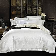 white jacquard Quilt cover set Queen King Size Bedclothes tencel ... & white jacquard Quilt cover set Queen King Size Bedclothes tencel and Cotton  blend Fabric luxuries jacquard Adamdwight.com