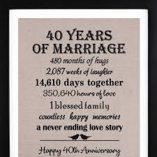 amazon 40th anniversary burlap print with frame 40th anniversary gift for couple 40th wedding anniversary gift for him or her kitchen dining