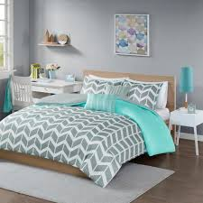 intelligent design laila 5 piece teal full queen geometric duvet cover set