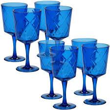 certified international 8 piece 13 oz cobalt blue acrylic goblet glass