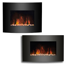 sentinel wall mounted electric fireplace black curved glass heater flame effect plasma