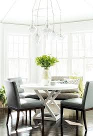 breakfast dining furniture staggered glass jewels chandelier over round dining table breakfast nook dining room sets