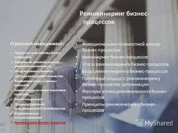 Презентация на тему mba Страхование Формула успешного менеджера  26 Страховой менеджмент Функционально стоимостной анализ бизнес процессов
