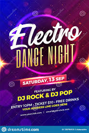 Electro Dance Night Party Template Or Flyer Design Stock