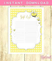 Gift Tracker Baby Shower Gift Tracker Instant Download Bee Baby Shower Gift List