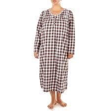 Plus Size Cotton Plaid Lace Trim Nightgown 278714409