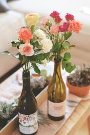 Flower friday: Rose wine bottle vases