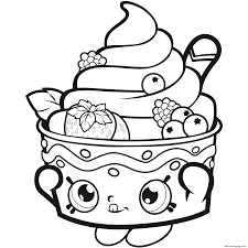 Shopkins Icecream Strawberry Coloring Pages Printable