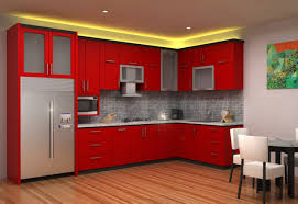 Red Country Kitchen Cabinets Kitchen Fluffy Ideas Minimalist Red Kitchen Design And L Shaped