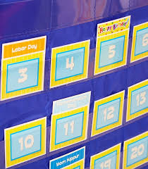 Yellow Calendar Pocket Chart Deluxe Calendar Pocket Chart
