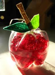Decorated Plastic Bottles Apple decorations from recycled plastic bottles Joyful Jewish 30