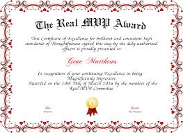 mvp award certificates the real mvp award certificate created with certificatefun com