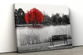 large red tree black white home decor
