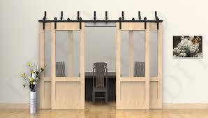 10ft bypass sliding 4 wood barn door track kit black bypass barn sliding closet doors wood