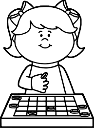 Small Picture Thinking Girl Board Game Coloring Page Wecoloringpage